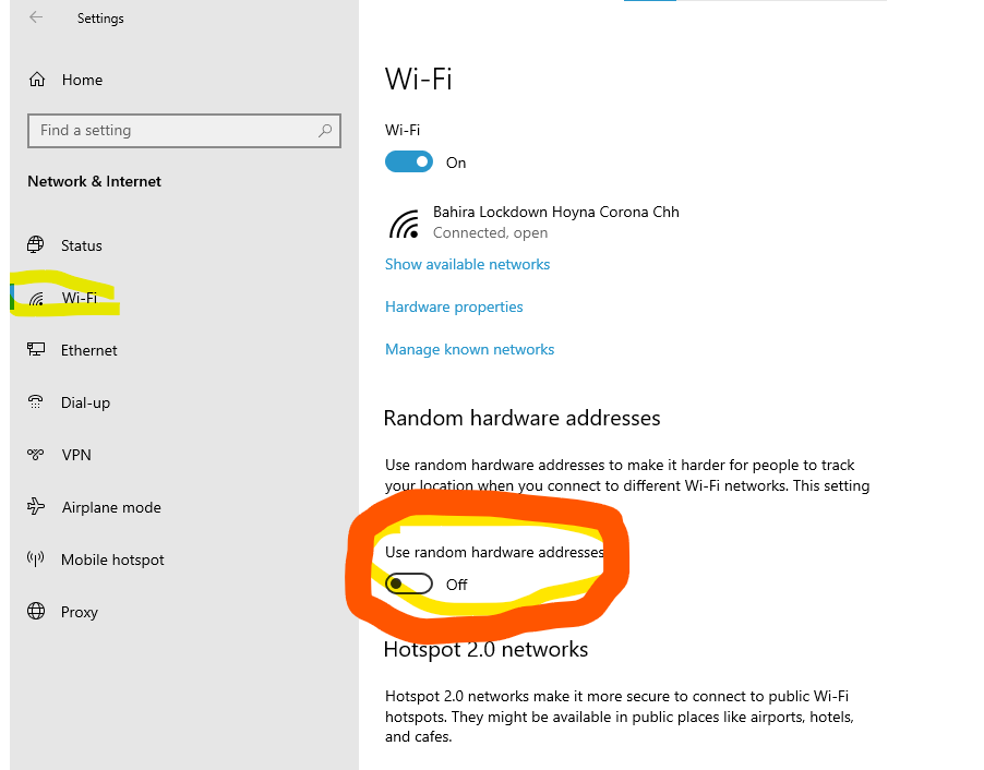 Windows 10 Wi-Fi setting change for Automatic MAC Address changes to stop and enable